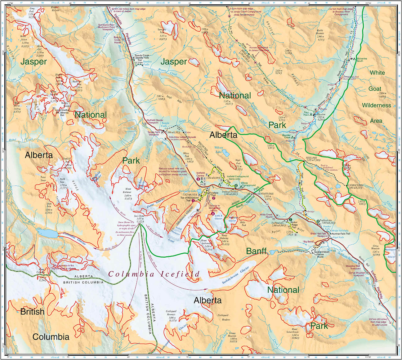columbia icefield glacial extents